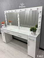Визажный стол для 2х мастеров на 3 линии света. Модель V462 белый, фото 1