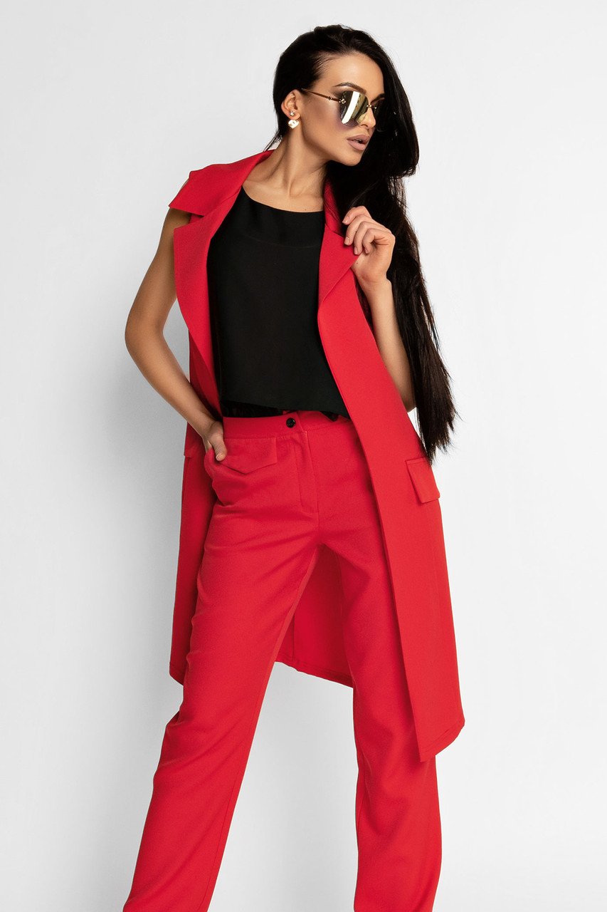 (S, M, L, XL) Жіночий червоне брючний костюм Endru