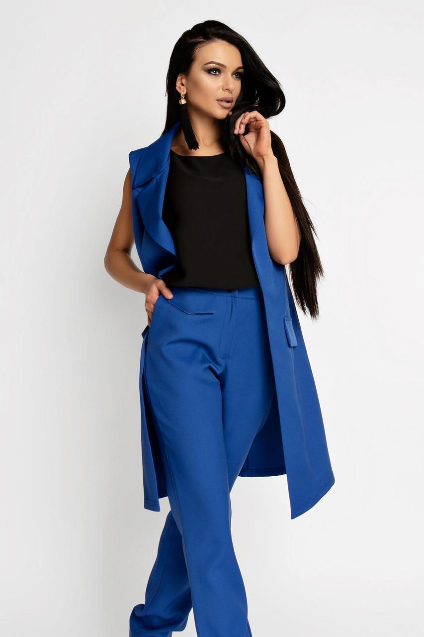 (S, M, L, XL) Жіночий синій брючний костюм Endru