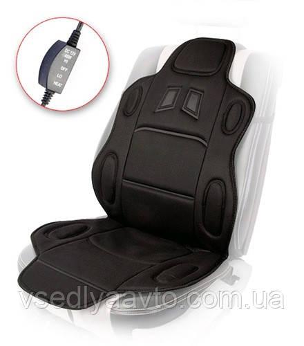 Накидка на сидения H 19002 BK (115x49см) с подогр. высокая/перекл