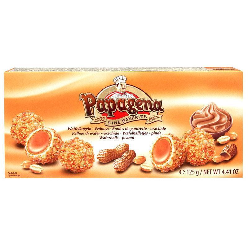Конфеты кокосовые Papagena (вафельные шарики в кокосе с арахисовой начинкой внутри) Австрия 120г