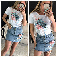 Женский костюм с аппликацией футболка и джинсовая юбка, фото 1