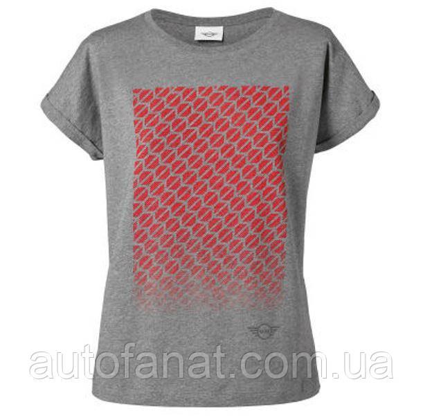 Оригинальная женская футболка MINI Signet T-Shirt Women's, Grey/Coral (80142454927)