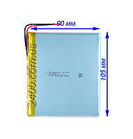 Мощный аккумулятор для планшетов (5000 мАч) плоский 4090105 мм 3,7в  Bravis, Nomi, ImPAD, Prestigio 5000mAh