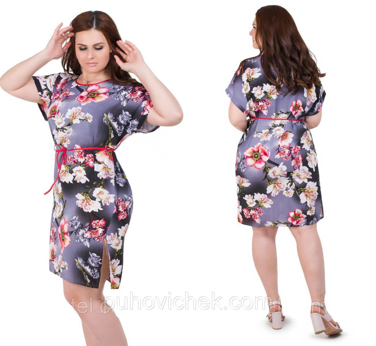 Модная женская туника летняя платье размеры 48-54