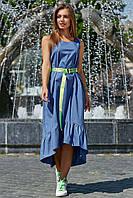✔️ Летнее женское платье коттон 44-50 размера синее, фото 1