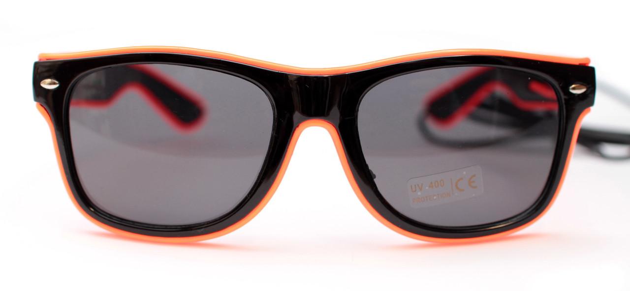 Светодиодные неоновые светящиеся ЛЕД очки затемненные комплект с инвентором LED Neon Party Glasses