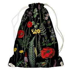 Рюкзак-мішок Польові квіти на чорному тлі (RM_16J033_BL)