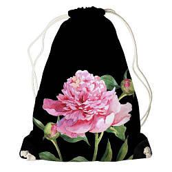 Рюкзак-мішок Півонія на чорному фоні (RM_CLF002_BL)