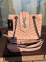 Женская сумка Yves Saint Laurent (Ив Сен Лоран), бежевый цвет