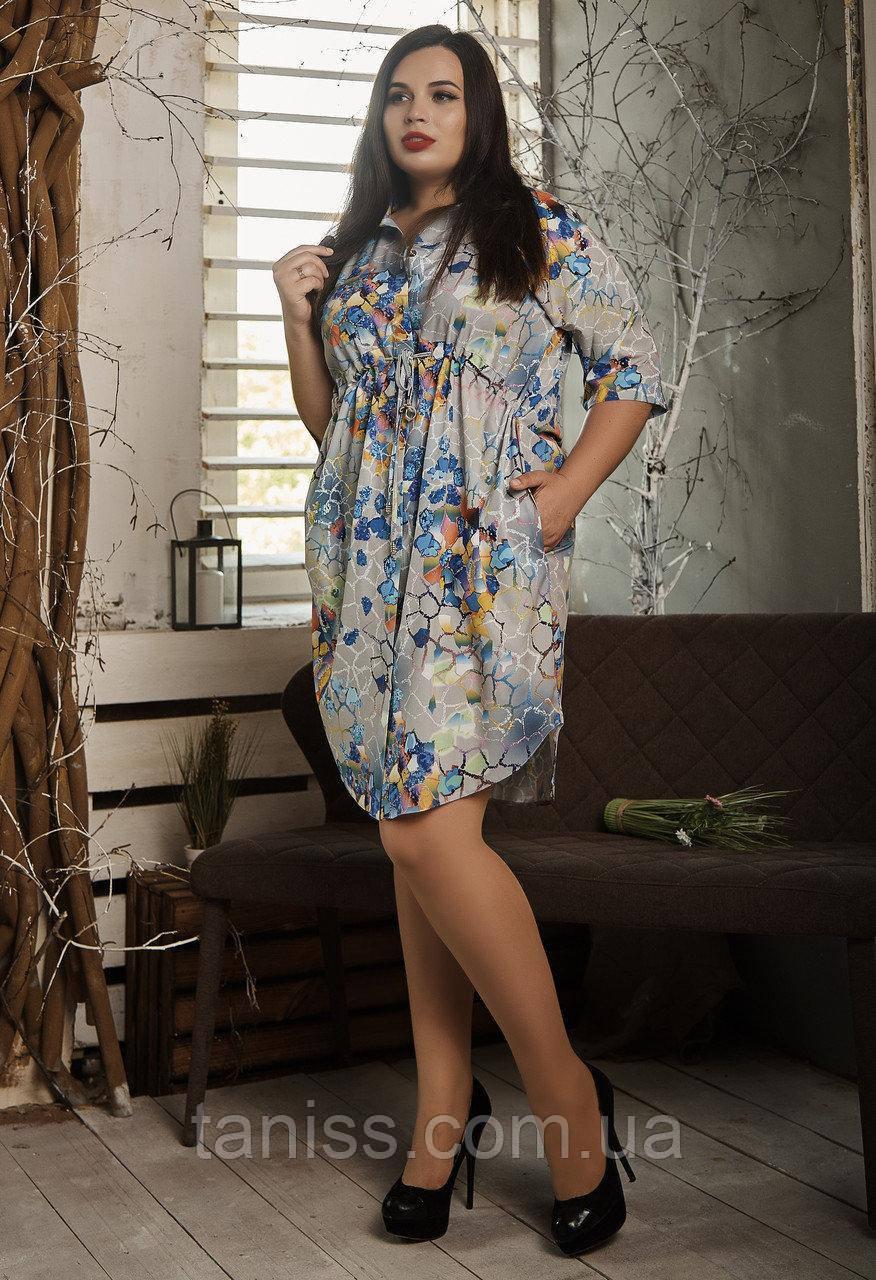 Летнее деловое платье, с кулиской под грудью, софт, большого размера р. 54,56,58 мозаика  (519)