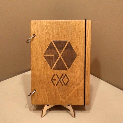 Скетчбук EXO. Блокнот с деревянной обложкой.