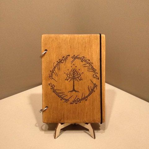 Скетчбук A5 The Lord of the Rings. Блокнот с деревянной обложкой.
