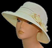 Шляпа женская Мечта молоко + бежевые цветы