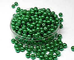 Жемчуг стеклянный  Ø6мм пачка - примерно 100 шт, цвет - зеленый глянцевый