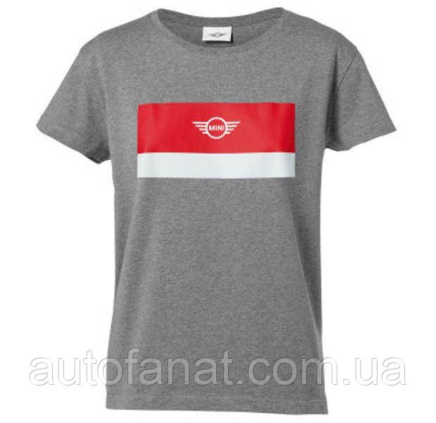 Оригинальная женская футболка MINI Wing Logo T-Shirt Women's, Grey/White/Coral (80142454921)