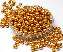 Жемчуг стеклянный Ø6мм пачка - примерно 100 шт, цвет -  золотой глянцевый