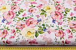 """Ткань хлопковая """"Цветущая яблоня"""" розово-кремовая на белом №2293а, фото 3"""
