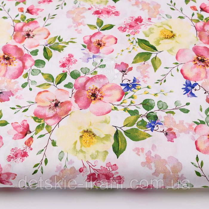 "Ткань хлопковая ""Цветущая яблоня"" розово-кремовая на белом №2293а"