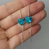Серебряные серьги протяжки с голубым камнем Swarovski