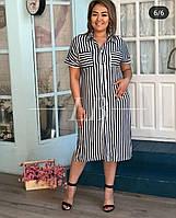 """Платье-рубашка женское полубатальное в полоску размеры 48-54 """"BARBARIS"""" недорого от прямого поставщика, фото 1"""