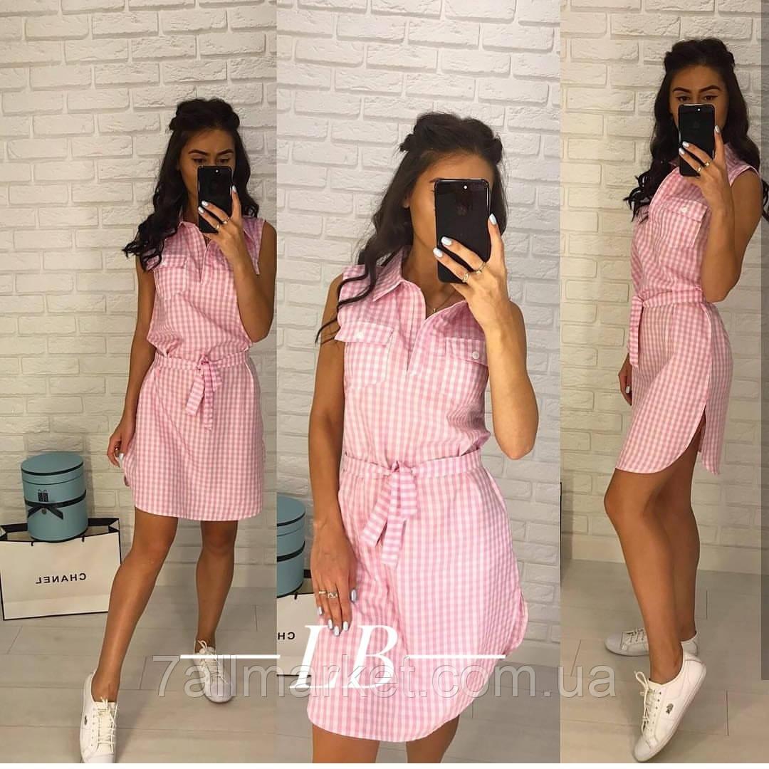 """Платье-рубашка женское летнее в клетку размеры 42-46 (2цв) """"BARBARIS"""" недорого от прямого поставщика"""