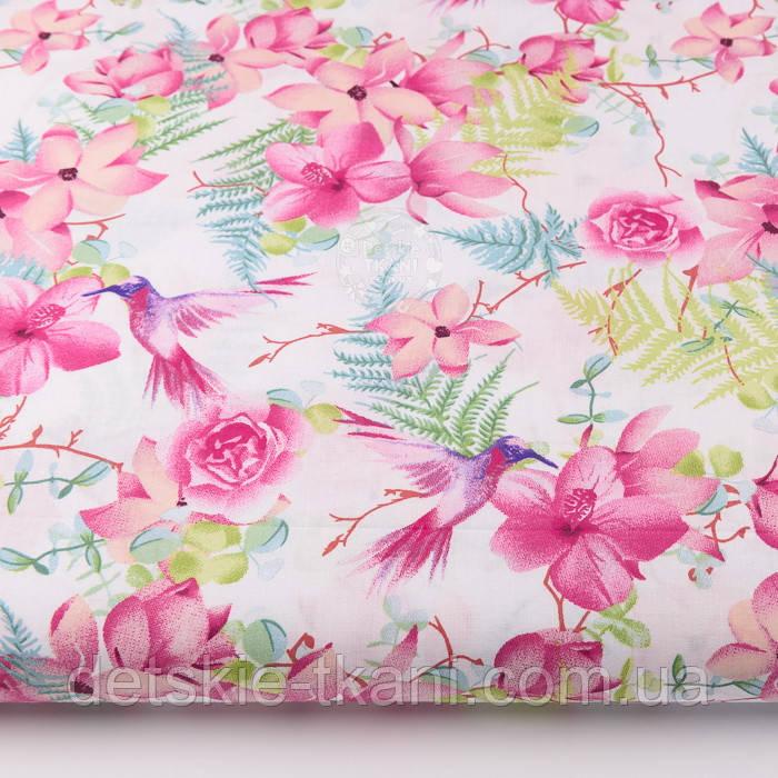"""Ткань хлопковая """"Колибри в цветущем саду"""" на белом (№2299а)"""