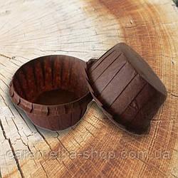 Формы бумажные для кексов усиленные с бортиком коричневе, 55*35 мм