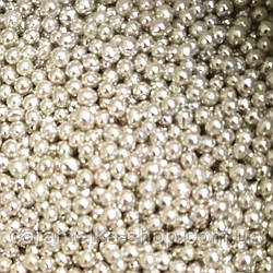 Кондитерська посипання Намисто срібло, 3 мм 100г