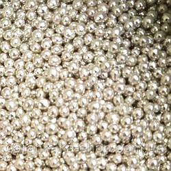 Посыпка кондитерская Бусы серебро, 3 мм 100г