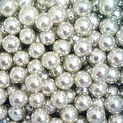 Посыпка кондитерская Бусы серебро, 7 мм 100г