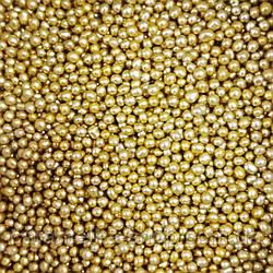 Посыпка кондитерская Бусы золото, 2мм, 100г