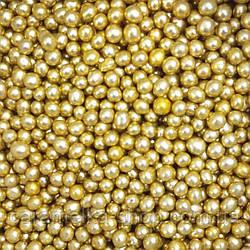 Кондитерська посипання Намисто золото, 3мм, 100г