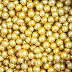 Кондитерська посипання Намисто золото, 5мм, 100г