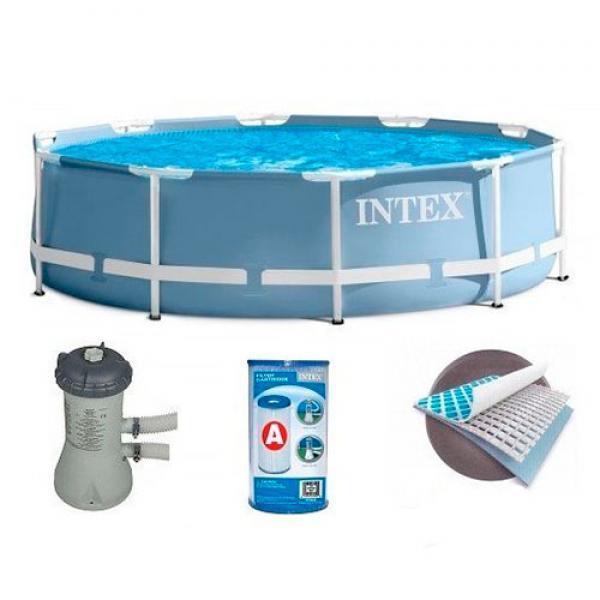 Круглый каркасный бассейн Intex, с фильтр-насосом и лестницей, 366х99 см (28718)