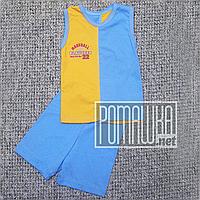 Детский летний костюм 92-98 1-2 года комплект майка и шорты на для мальчика мальчику на лет 2113 Голубой