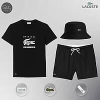 Шорты пляжные + футболка Lacoste Black | Спортивный костюм летний мужской Лакоста ТОП качества