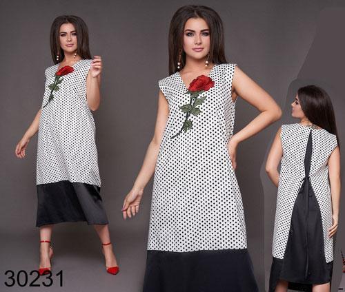 Женское летнее платье миди без рукавов в горошек (белый) р. 48, 50, 52, 54, 56, 58, 60, 62