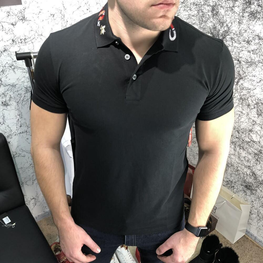 Gucci Cotton Polo With Kingsnake Embroidery Black