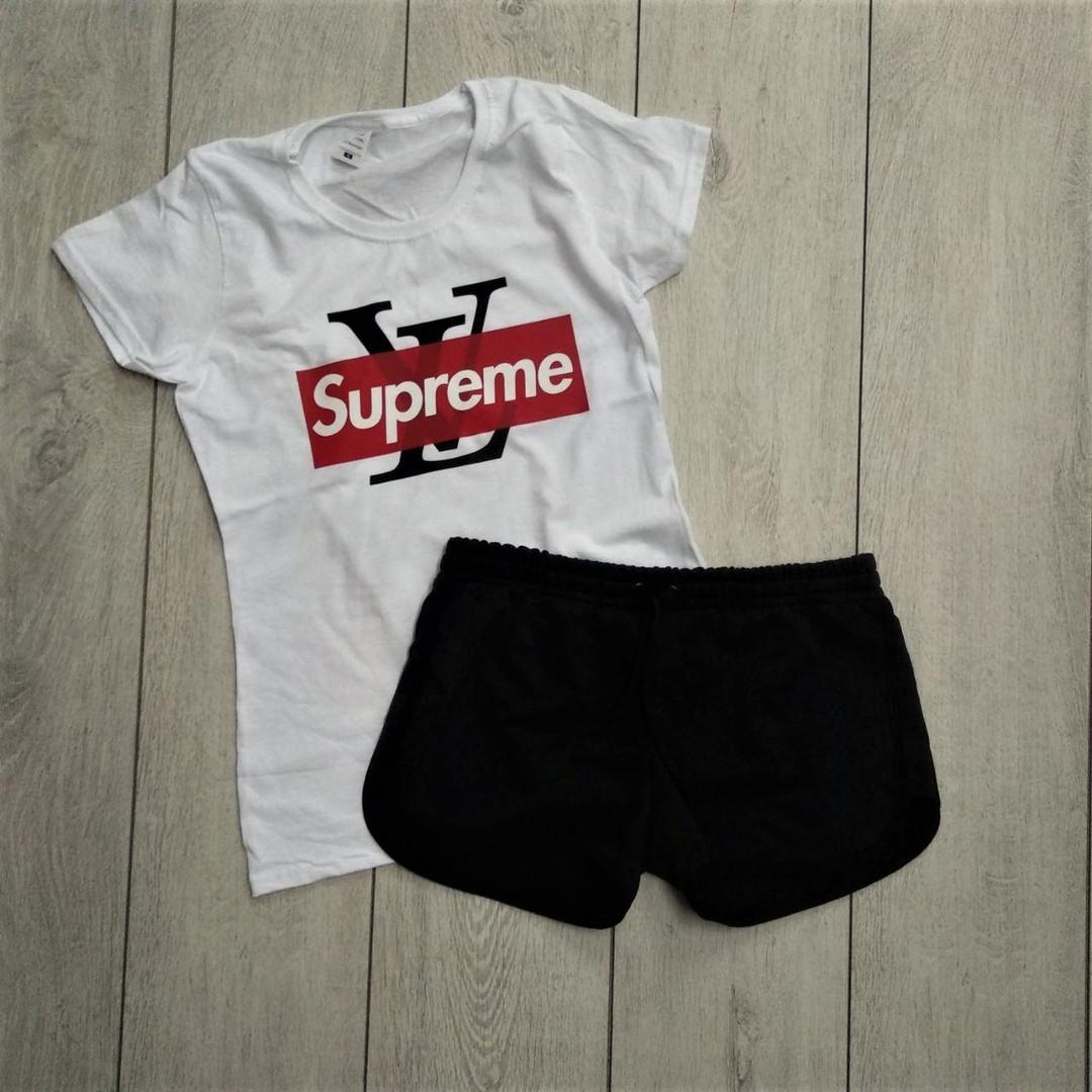 Женская футболка + шорты Supreme (женский летний костюм). ТОП качество!!!