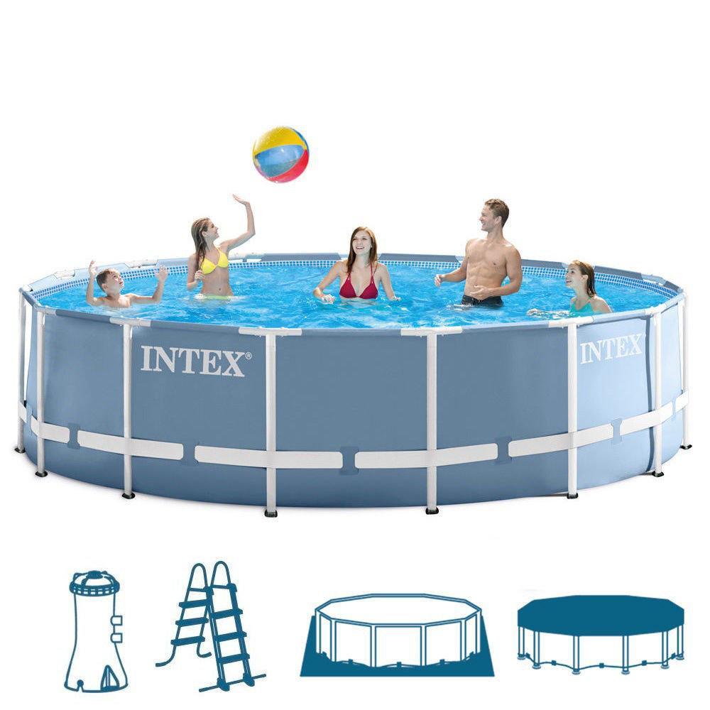 Круглый каркасный бассейн Intex,фильтр-насос(220-240V), лестница, подстилка, тент, 457х122 см (28736)