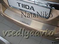 Накладка на бампер Nissan TIIDA 5-дверка с 2007- (NataNiko)