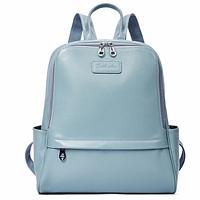 Рюкзак женский кожаный Bostanten пудрово-голубой Blue