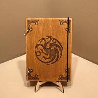 Скетчбук A5 Game of Thrones. Блокнот с деревянной обложкой.