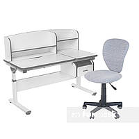 Комплект парта с надстройкой Creare Grey и ящиком + детское компьютерное кресло LST2 Grey FunDesk