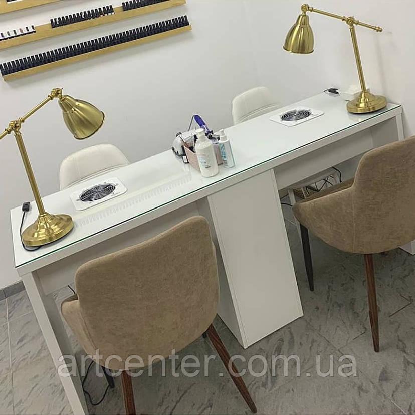 Маникюрный стол для двоих мастеров с 3 общими ящиками