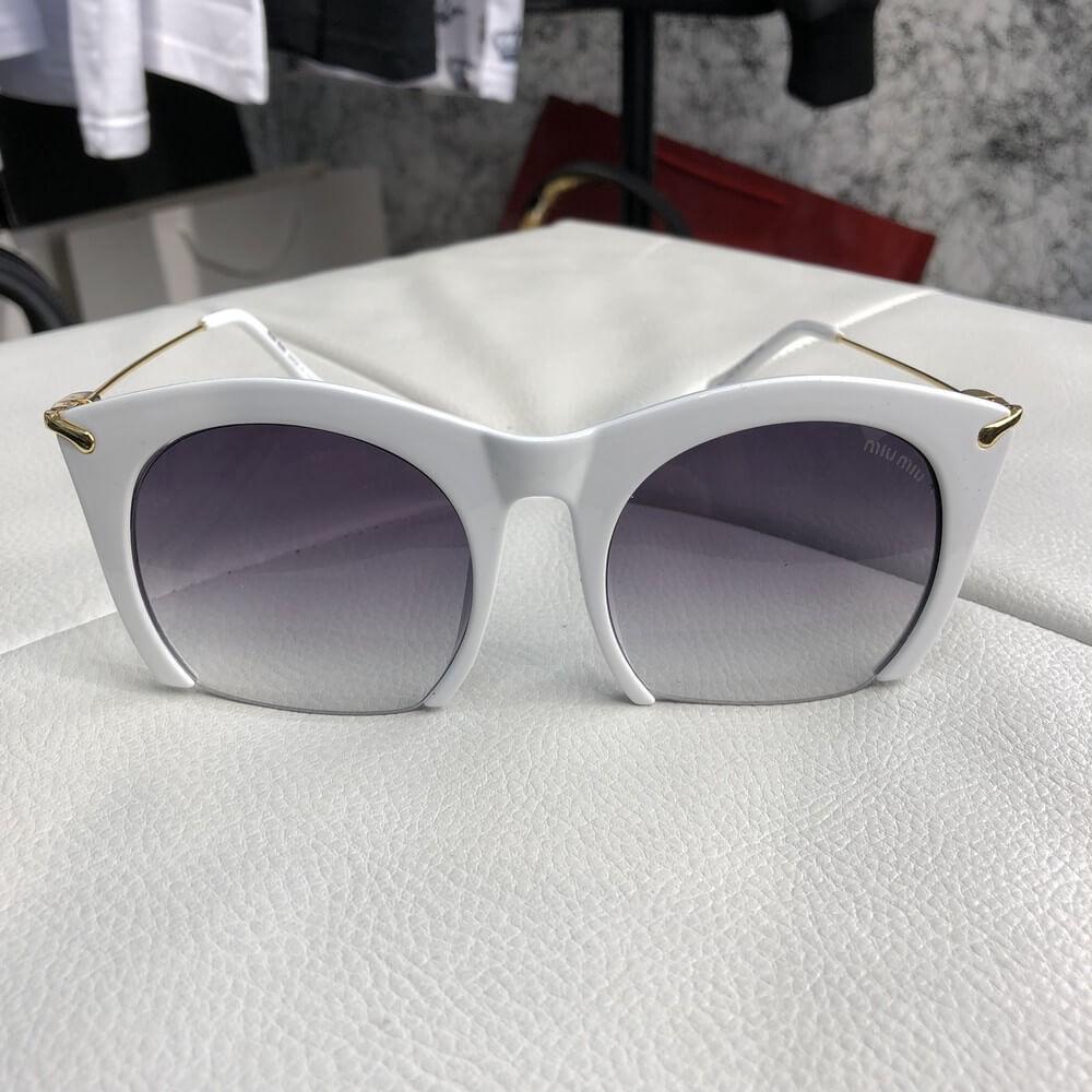 Miu Miu Sunglasses Rasoir Square Frame White/Gray