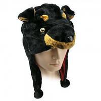 Шапка маска Собака черная, Шапки Маски животных и любимых персонажей, Шапки Маски тварин і улюблених персонажів