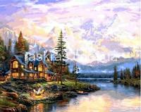 VPS1113 Картина раскраска Дом у горного озера DIY Babylon