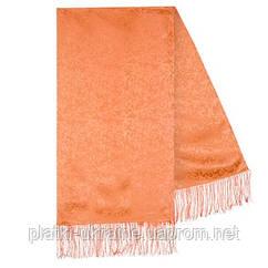 Шарф (палантин) шелковый с бахромой,  крепдешин, павлопосадскаий, персиковый,  размер 43х150 см, рис.2401-3